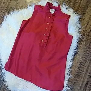 Talbots 100 % Silk Red Blouse size 4